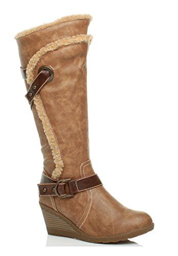 Donna tacco alto media zeppa bordo pelliccia stivali invernali ginocchio taglia Marrone chiaro