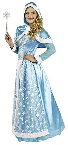 Schneekönigin Kostüm für Damen Gr. 44 46 - Hochwertiges Kostümkleid für Theater, Karneval oder Mottoparty - Eisprinzessin, Eiskönigin Elsa