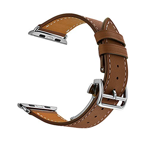 Janly Bracelet en Cuir véritable de Remplacement pour Bande de Montre Compatible avec Apple Watch série 3/2/1 42MM / Apple Watch série 4 44MM (Marron)
