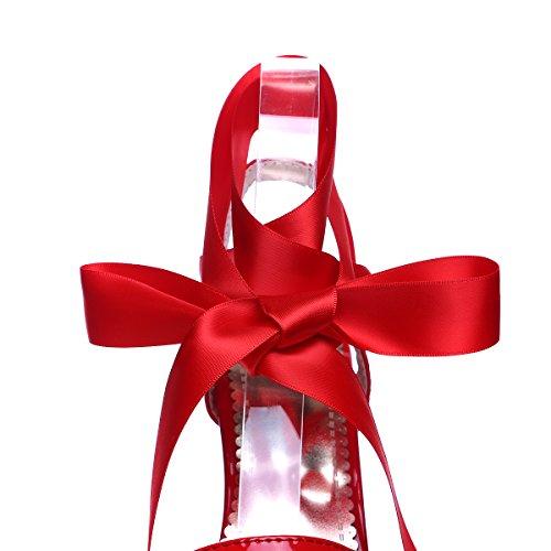 YE Damen Extrem High Heels Plateau Stiletto Lack Sandalen Pumps mit Schnürung Party 16cm Absatz Schuhe Rot