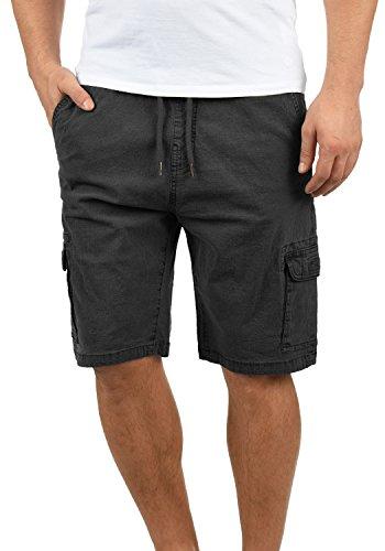 Indicode Frances Herren Cargo Shorts Bermuda Kurze Hose Mit Elastischem Bund Aus Stretch-Material Regular Fit, Größe:L, Farbe:Black (999)