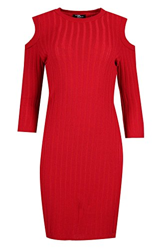 Comfiestyle - Robe - Moulante - Manches Longues - Femme red