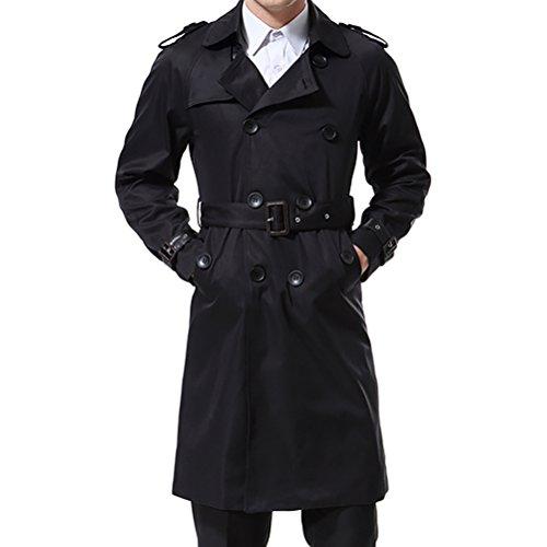 AOWOFS Herren Trenchcoat Lang Zweireihiger Slim Fit Mantel im Militärischen Stil Trench Coat mit Gürtel - 4