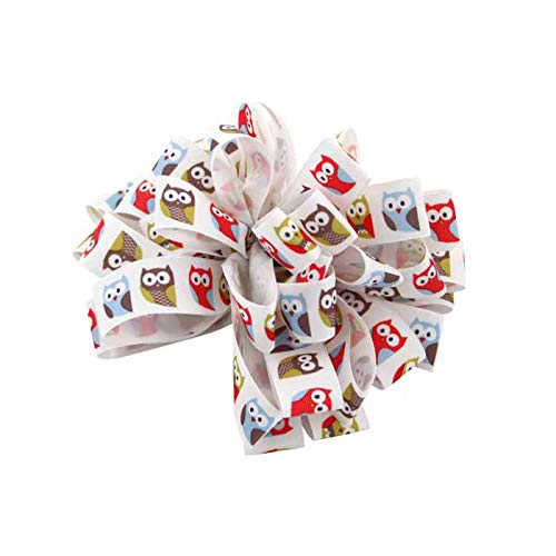raft Ribbon - 2,2 cm x 0,9 m, weißes Band mit großen Augen Eulen, Valentinstag, Geburtstag, Babyparty, Geschenkschleife, Ostern, Frühling, Muttertag, Dekoration, Haarschleifen ()