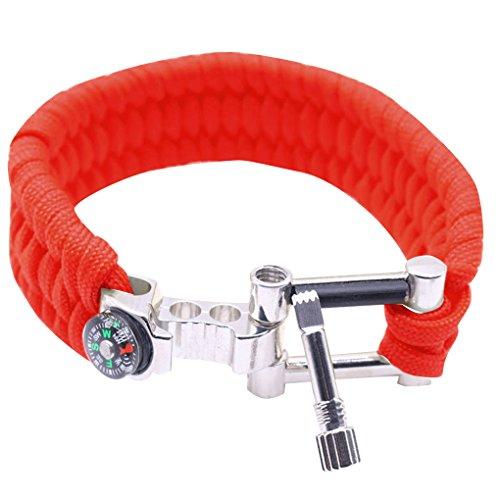 Vkospy Outdoor-Survival-Armband Notfall Seil Kompass-Feuer-Starter Flaschenöffner