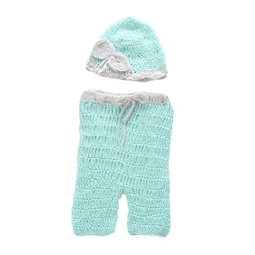 Zhhlaixing Baby Crochet Photography Props Newborn Photo Unisex Costumes Infant Beanies and Pants Clothing Set XDT-452#