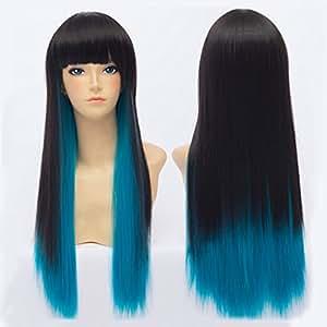 Anime Wig Perruque style Lolita Cheveux longs Noir dégradé de bleu