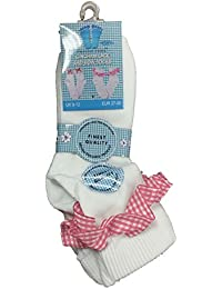 Pack Of 3 Pairs Girls Gingham Lace Socks Frilly White Ankle School Socks Red Pink Blue