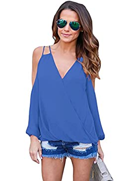Camiseta de tirantes con cuello en V, color azul frío, estilo casual, talla M
