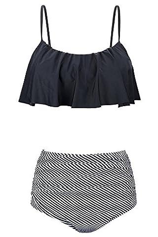 Alicecoco Women's Cute Ruffles Strap High Waisted Swimsuit Crop Top Flounce Bikini (S, Black)