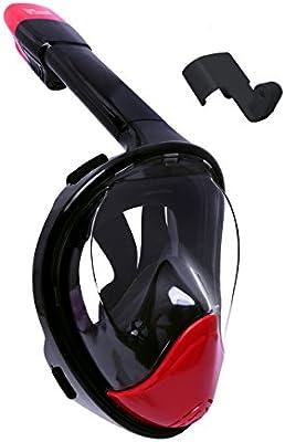 witmoving 180° panorámicas Snorkel máscara cara completa diseño de respiración superficie snorkel con antivaho y linternas tecnología