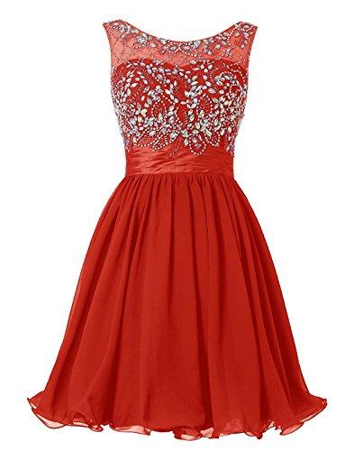 BetterGirl Chiffon Kurz Perlen Ballkleid Abendkleid Brautjunferkleide-Rot-32