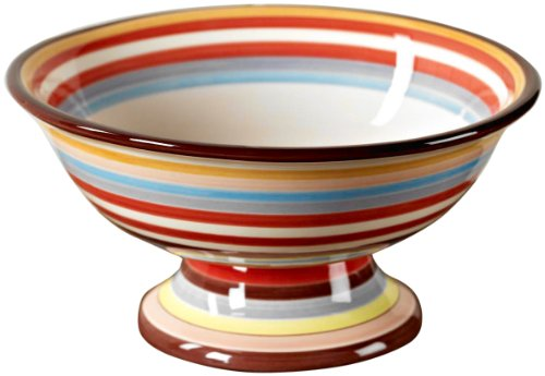 Tabletop Lifestyles 11-Inch Footed Compote, Sedona Stripe by Tabletop Lifestyles Sedona Earthenware