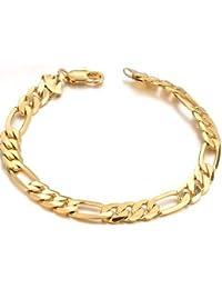 bigsoho Fashion Cool 18k Gold Plated Golden Link Chain Powerful Men Bracelets King Bangle 21cm,13g