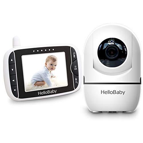 HelloBaby Video Babyphone mit Remote-Kamera Pan-Tilt-Zoom 3,2-Zoll-Farb-LCD-Bildschirm Infrarot-Nachtsicht Temperaturüberwachung Zwei-Wege-Gespräch HB65 (Schwarz/Weiss) Tilt Remote