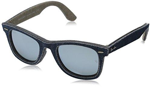Ray-Ban Unisex Sonnenbrille Original Wayfarer, Blue/Jeans Green Brown/Lightgreenmirrorsilver, One Size (Herstellergröße: ()