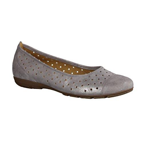 Gabor 64169-69 - Damenschuhe Modische Pumps / Ballerina, Grau, leder (caruso metallic), absatzhöhe: 18 mm Grau