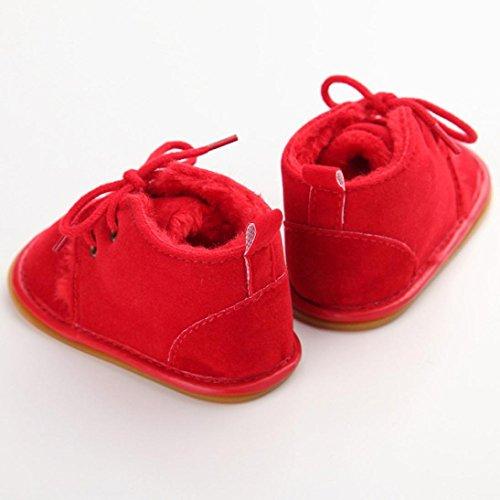 WOCACHI Baby Kleinkind Säuglings Schnee Stiefel Schuhe Gummisohle Prewalker Krippe Schuhe Krabbelschuhe (13, Himmelblau) Rot