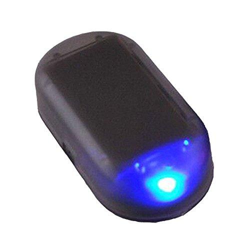 YYGIFT® Auto Solar Alarmanlage mit LED Dummy Imitation Diebstahlsicherung Attrappe Diebstahlschutz Warnleuchte Blinkleuchte Gute Abschreckung Blau