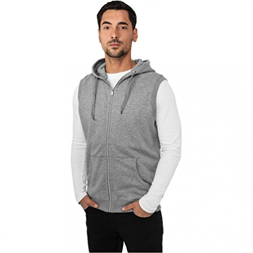 Urban Classics Light FLeece SLeeveless Zip Kapuzenpullover - Regular Fit, Größe:S;Farbe:grey Fleece Sleeveless Zip