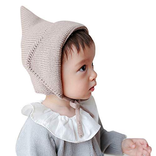 uBabamama_Hat Babymütze, für Neugeborene und Kinder, süßer Winter, warme Totenkopf-Mütze, Plüsch, Gestrickte Wollmütze, Weicher Saum Einheitsgröße Coffee