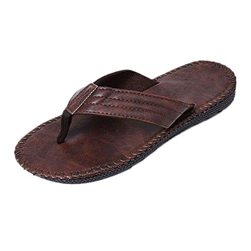Bold Manner Sandale Tong Homme Garçon PU Casual Antidérapage Pantoufles Babouches Chausson Spartiate Marron