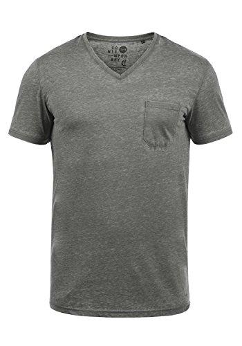 !Solid Theon Herren T-Shirt Kurzarm Shirt mit V-Ausschnitt, Größe:L, Farbe:Mid Grey (2842) -
