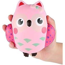 mi ji Squishy Kawaii,Búho Squishy Juguete,Squishy Doll Squishy Toy Perfumada Lenta Levantar Exquisito Muñecos y Figuras Juguete Antiestrés para niños(Rosa)