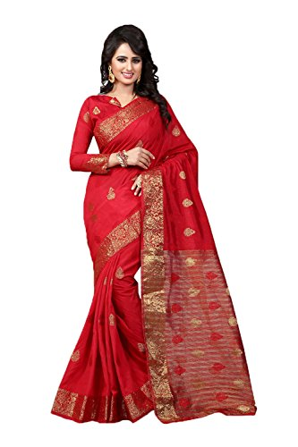 DaFacioun Womens Attractive Looking Red Brocade Patch Ethnic Saree 71444