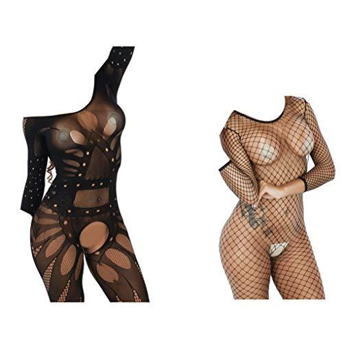 HNJZX Damen Unterwäschen,Bodystocking aus Set Reizvolle Strapsen Reizwäsche Transparent Spitze Lingerie Unterwäsche Bodysuit Nachtwäsche (F) - Bodystocking Set