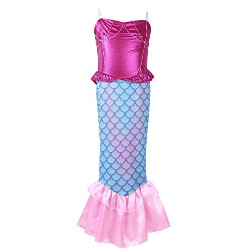Zubehör Meerjungfrau Halloween Kostüm (iEFiEL Kinder Kostüm für Mädchen Meerjungfrau Kostüm Prinzessin Kleid Meerjungfraukostüm Fasching Karneval 2017 Blau 110-116 (Herstellergröße:)