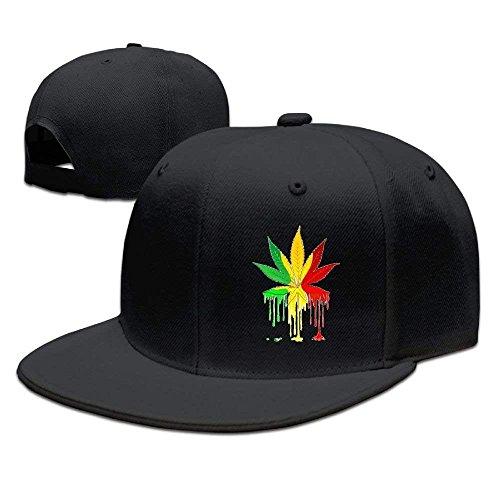Vintage Fitted Cap (fboylovefor Mens Vintage Snapbacks Hats Baseball Caps Marijuana Leaf Rasta Colors Dripping Paint Fitted Hat,Unisex)