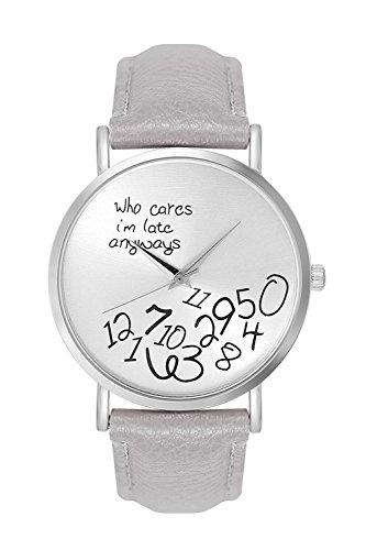 Damenuhr Armbanduhr Damen Unisex Herrenuhr Quarzuhr Trenduhr Design Uhr mit Schriftzug
