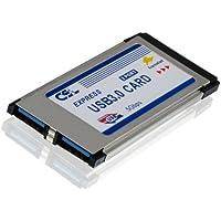 CSL - USB 3.0 Super Speed PCMCIA Express Card Karte (34mm / 2 Port / Windows 7 + Windows 8 kompatibel) für Notebook Laptop | USB Hub intern