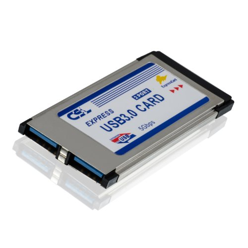 CSL - USB 3.0 Super Speed PCMCIA Express Card Karte (34mm / 2 Port / Windows 7 + Windows 8 kompatibel) für Notebook Laptop | USB Hub intern