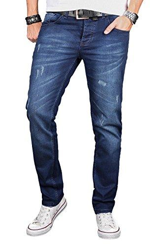 A. Salvarini Herren Designer Jeans Hose Stretch Basic Jeanshose Regular Slim [AS051 - W32 L32], Dark Blue Used