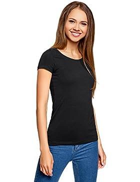 oodji Ultra Mujer Camiseta Básica Entallada (Pack de 3)