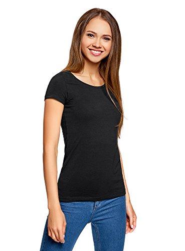 oodji Ultra Damen Tagless Tailliertes T-Shirt Basic (2er-Pack), Schwarz, DE 32/EU 34/XXS (T-shirt Damen Hand Schnitt)