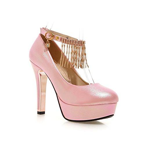 AllhqFashion Damen Schnalle Pu Rund Schließen Zehe Hoher Absatz Eingelegt Pumps Schuhe Pink