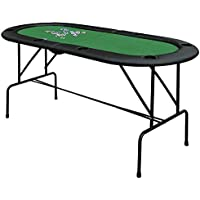 HOMCOM Poker Table 1.85m Folding Top for 8 Players Casino with Chip Trays Drink Holders