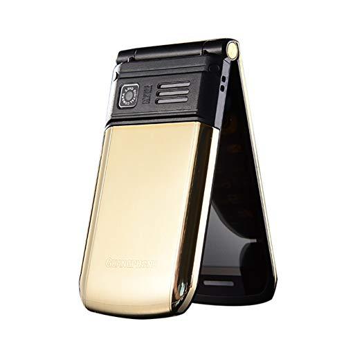 Flip Alten Mann Handy, E9 Dual-Screen-Dual-SIM-Karte Lange Standby-FM Senior Phone Flip-Handy 3-4 Stunden Sprechzeit für alte Menschen (Gold)