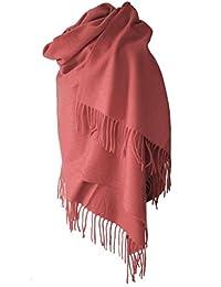 Echarpe étole chale en laine et cachemire vieux rose grande épaisse et chaude