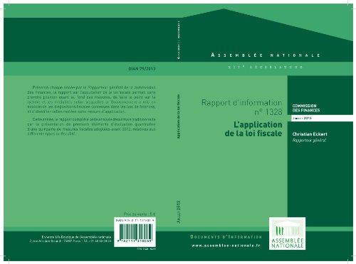 Couverture du livre Rapport d'information « L'application de la loi fiscale »