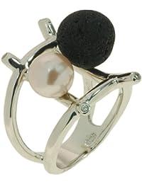 Ring 925oo Silber mit Lavastein , Muschelkernperle und Zirkonia, Gr. Ø 20 mm