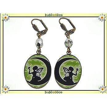 Retro-Ohrringe Feen Mond schwarz weiß grün grau Messing Bronze Harz Perle Harz Glas personalisierte Geschenk Weihnachten…