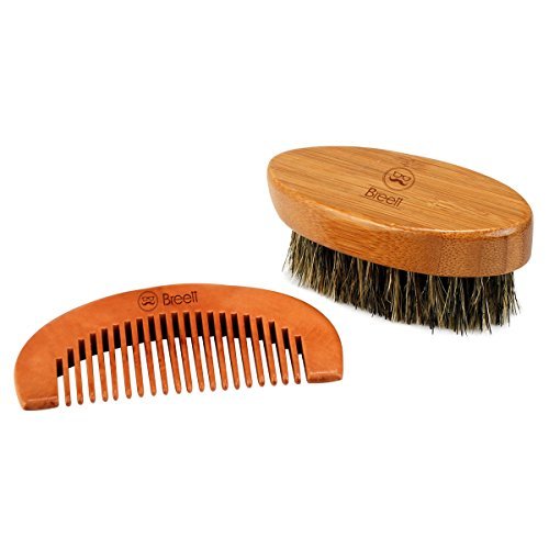 Price comparison product image Beard Brush Comb, Breett Wood Comb Stylish Brush Tool Set for Men Beard and Mustache with Storage Pouch
