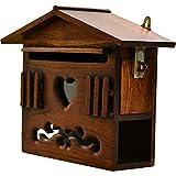 BTTNW Briefkasten Outdoor Classic Holz Mailbox Modernes Haus Retro Briefkasten Dekoration Mailbox Vertikale Wandhalterung Mit Verriegelung Außerhalb Briefkästen Abschließbare Mailbox zur Wandmontage