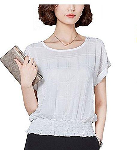 Sommer lose lose Halsband Rund Hals kurze Ärmel Uniform Slim Shirt, Polyester, weiß, xxl Ärmel Runde-shirt