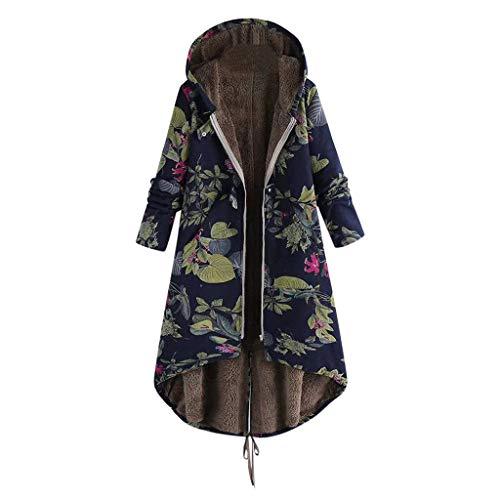 BOLANQ Vintage Damen Winter Warm Blumendruck Oversize MäNtel Outwear Mit Kapuze Taschen Jacket Bluse(Medium,Marine)