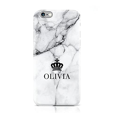 PERSONALISED MARBLE NAME & CROWN MOBILE PHONE CASE COVER FOR APPLE IPHONE 6 6S